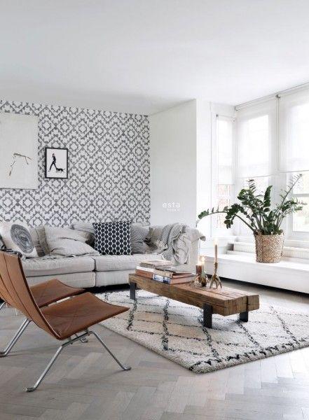 krijtverf eco texture vliesbehang aztec marrakech ibiza tapijt zwart en mat wit