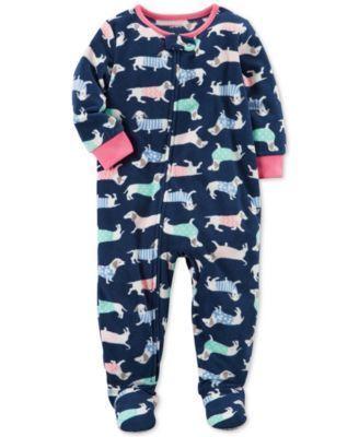 600d6e66b187 Carter s 1-Pc. Dog-Print Footed Fleece Pajamas
