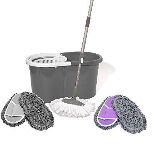 Balai + seau Easy Clean Serpillère 360°Rotation Turbo - set complet - avec accessoires supplementaires ( patins menages ET/OU lingettes microfibres) (GRIS) #Balai #seau #Easy #Clean #Serpillère #°Rotation #Turbo #complet #avec #accessoires #supplementaires #patins #menages #ET/OU #lingettes #microfibres) #(GRIS)