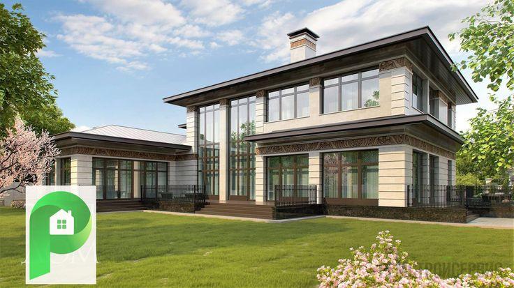 Красивый дом в стиле ПРЕРИЙ с бассейном гаражом и большой гостинной ! | Ремстройсервис | http://www.hmkmos.ru/dom_v_stile_frenka_lloyda_rayta.html