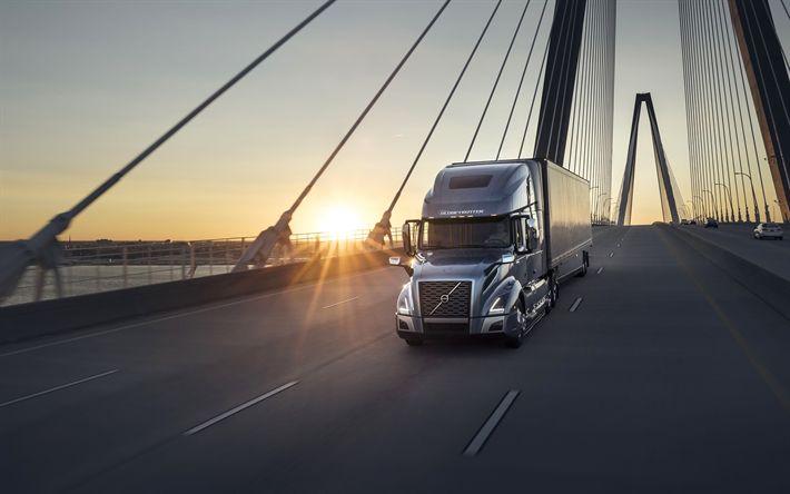 Descargar fondos de pantalla Volvo VNL 760, 4k, 2018 camiones, carretera, puesta de sol, Volvo VNL, camiones, Volvo