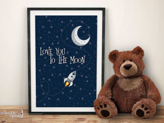 Love You to the Moon Print Moon Nursery Decor Moon Poster