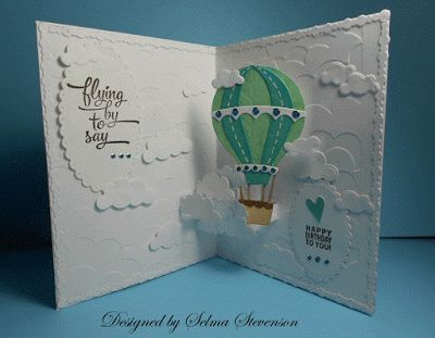 Selma Stevenson using the Pop it Ups Hot Air Balloon with Pop-up, Clouds Embossing Folder and clear stamps by Karen Burniston for Elizabeth Craft Designs. - Selma's Stamping Corner and Floral Designs: Hot Air Balloon Pop Up Card