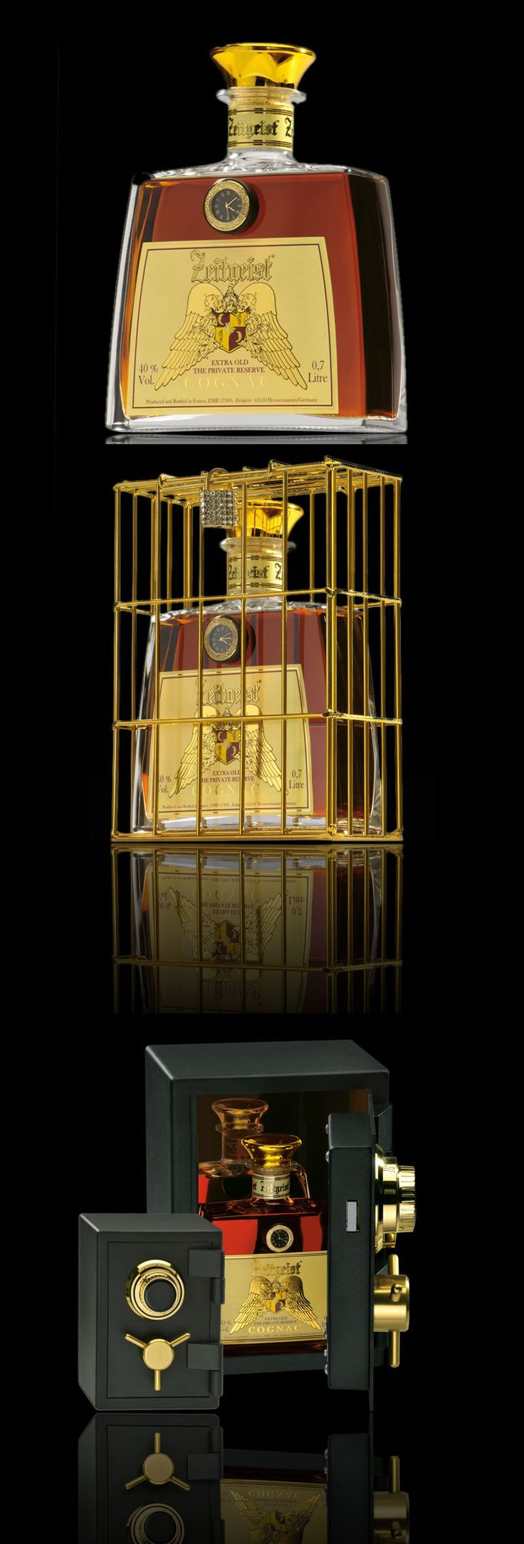 Zeitgeist Cognac comes in a 14k gold gilded cage with Swarovski crystal padlock or a safe.