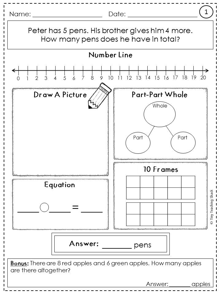 These word problem practice sheets will help your students to use a variety of methods of solving a word problem. Your students will get plenty of practice on solving problems with unknown numbers (result unknown, change unknown, start unknown). OA.A.1 word problems using 2 whole numbers- Commo Core first grade math practice sheets