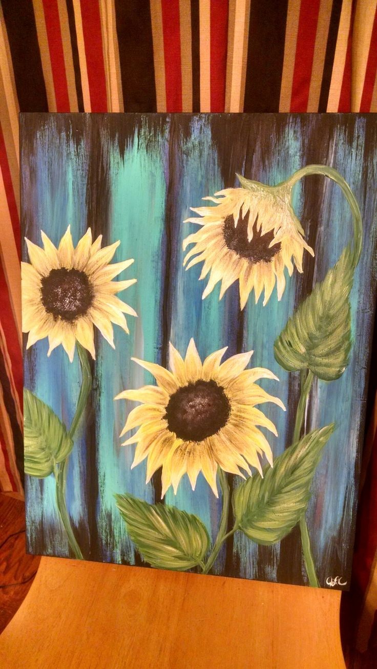 Sunflower weathered wood acrylic on canvas | My paintings ... Easy Acrylic Flower Paintings On Canvas
