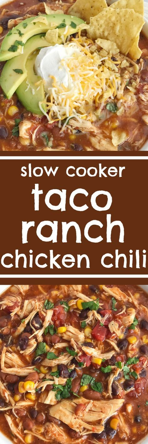 You'll love this taco ranch chicken chili that cooks in the slow cooker all day! Tender chicken loaded with vegetables, beans, and plenty of flavor. Only a few pantry staple ingredients is all you need for a satisfying dinner that is so comforting. Be sure and load it up with all your favorite toppings   Together as Family Blog   recipe   chili   taco soup   slow cooker   crock pot