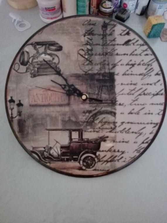 Shabby Chic Vintage Clock by DecoupageIdeas on Etsy
