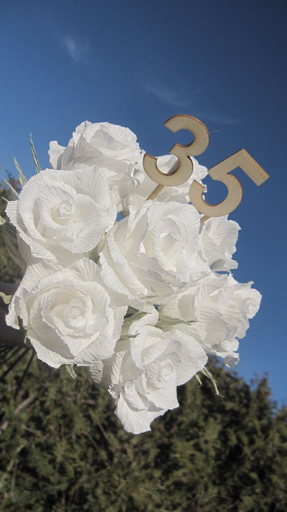Birthday Bouquet White Rosese Crepe Paper Flowers by moniaflowers
