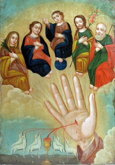 "This 19th century painting represents ""La Mano Poderosa,"" or ""The Powerful Hand"" - also sometimes referred to as ""Los Cinco Personas,"" a reference to the Extended Holy Family in the upper quadrant. The five figures at the top represent Anne, Mary, Baby Jesus, Joseph and Joachim. In the lower quadrant, blood is flowing from the stigmata into an open gold chalice which is received by the seven sacrificial lambs."