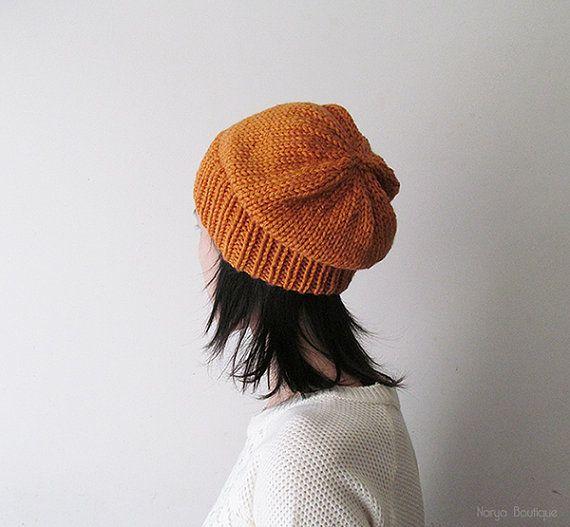 Bitter Orange Slouchy Hat Hand Knit Chunky Slouch Hat Women