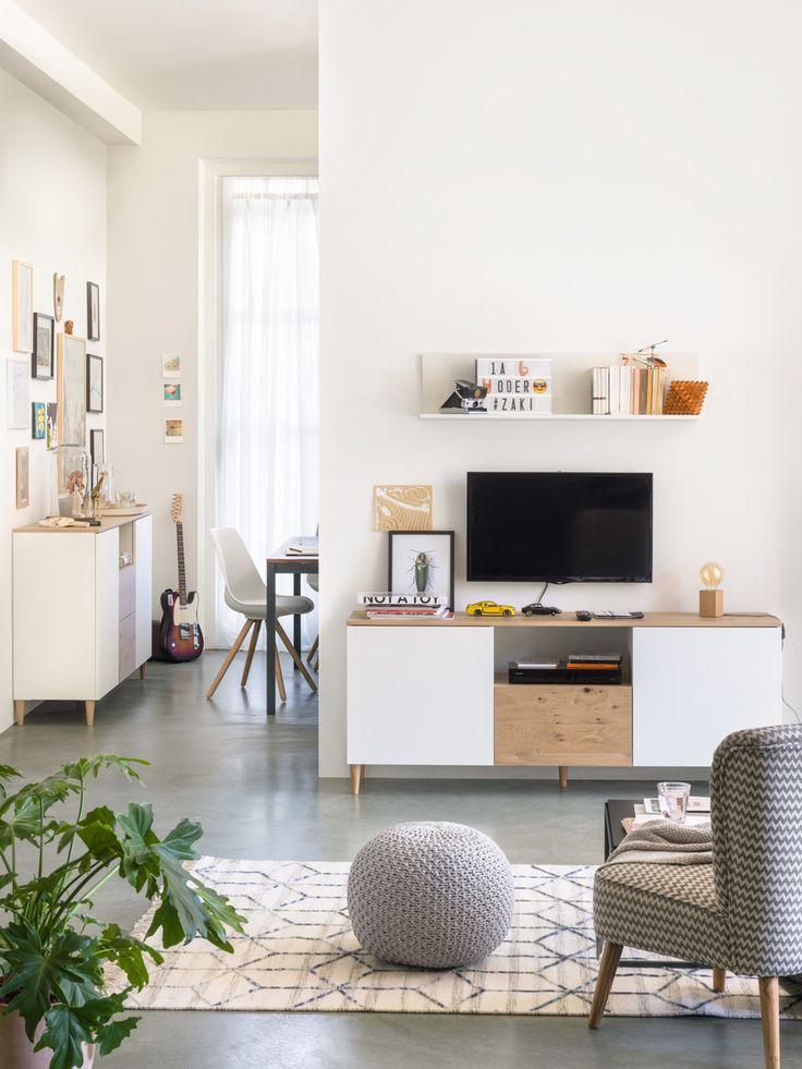 Micasa Wohnzimmer mit Lowboard TELL & Hocker DARA