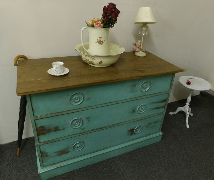 NOW SOLD Large bank of 3 drawers painted and waxed £185