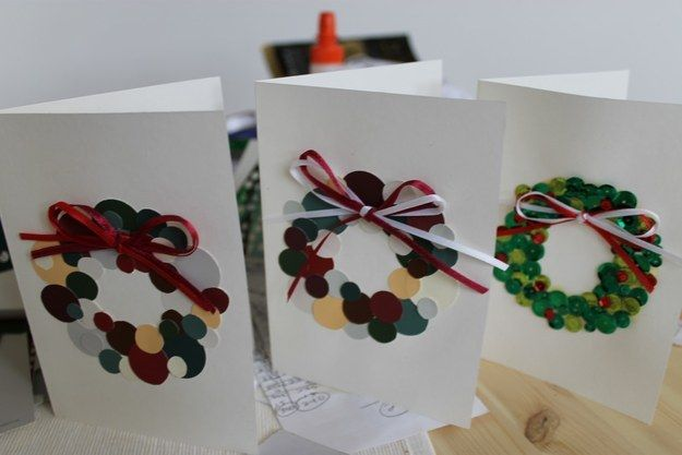 Or paint chip wreaths. | 23 DIY Christmas Cards You Can Make In Under An Hour