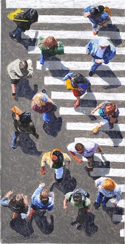 """Awesome point of view!    """"Pedestrians 2012-16"""": Jim Zwadlo, acrylic painting"""