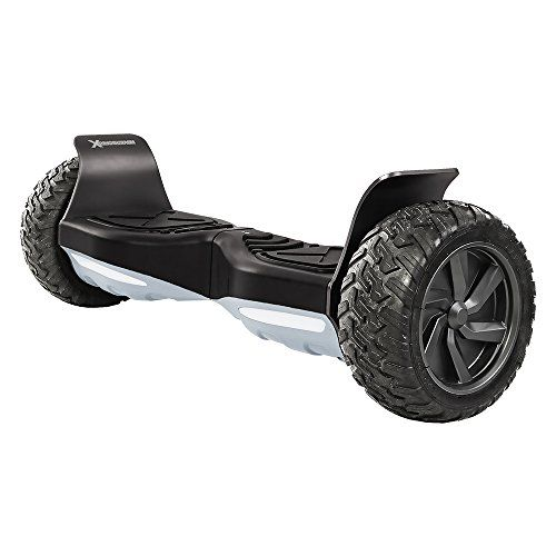 "HBX-AT Hoverboard – UL2272 Certified – App to Adjust Speeds – 8.5"" All Terrain Tires for Off-Road Use – Bluetooth Speaker – Safe Battery and 400W Dual Motors Go anywhere - large shock absorbent solid rubber tires to conquer obstacles; IP56 Certified water resistant. Bright front LED headlights to illuminate the groundUL 2272 safe - ride Worry-Free with a HoverboardX; tested and approved to insure maximum safety and fun. These won't spark, overheat, smoke or catch fireBluetooth and.."