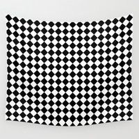 Black and white art deco diamonds Wall Tapestry by Laureenr