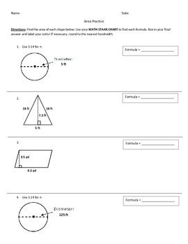 This practice worksheet has students write the formula for each each shape, and solve for its area. Shapes included: rectangles, trapezoids, circles, and triangles