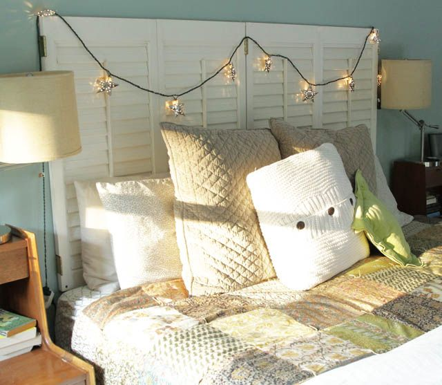 DIY plantation shutter headboard. shutters from Habitat for Humanity home store! networkedblogs.co...