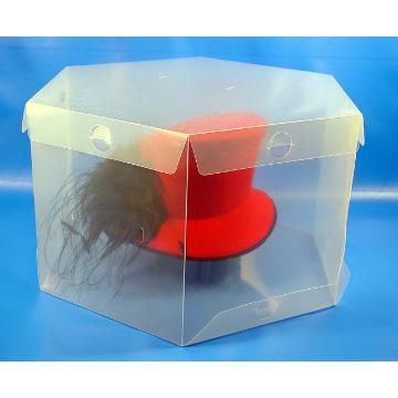 Foldable Plastic Hat Packaging/ Storage Box, PP Hat Box, Clear Hat Box