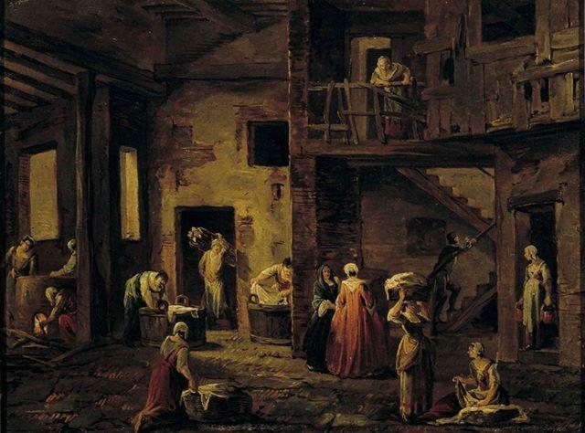 Antonio Diziani The Laundry House Dated 1700 Luvun
