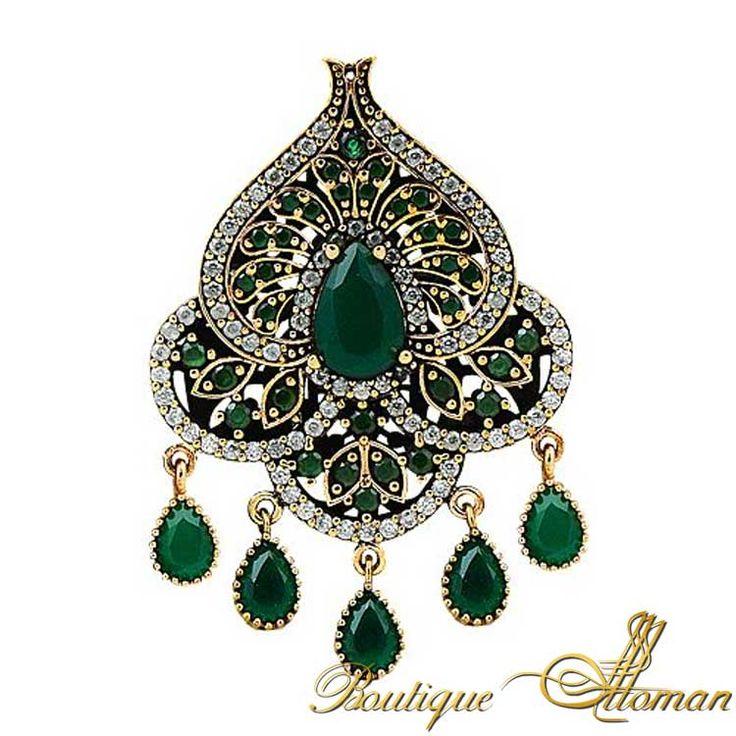Emerald Silver Ottoman Brooch - Ottoman Silver Jewelry #brooch #brooches #silverbrooches #jewelry #clothesjewelry