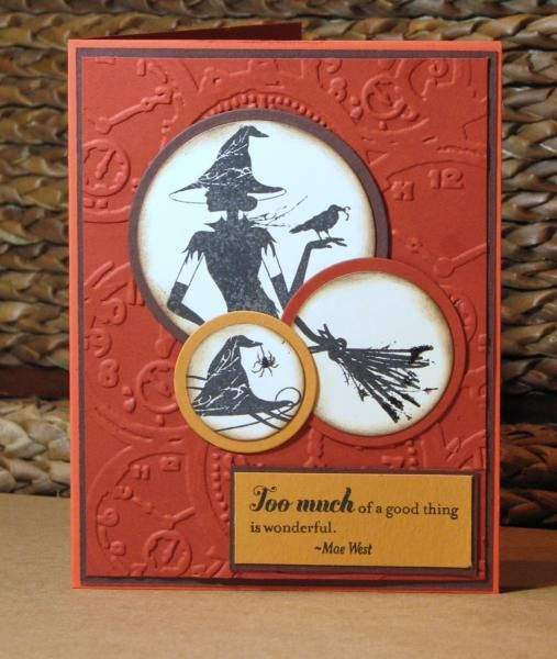 Wicked 8-2011 SOTM CTMH Too Much!, ctmh, Close to my Heart, Halloween card with witch