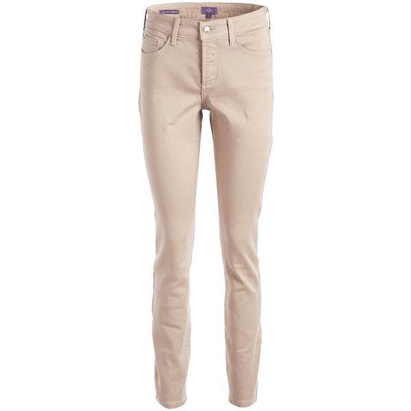 NYDJ Vintage Taupe Ami Skinny Legging ($47) ❤ liked on Polyvore featuring pants, leggings, plus size, shiny leggings, plus size shiny leggings, plus size pants, skinny pants and taupe leggings