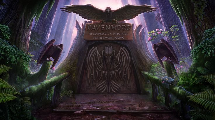 Enigmatis: The Mists of Ravenwood - Dark Gate www.artifexmundi.com/page/enigmatis2 #raven #bird #redwood #park #entrance #game #adventure https://www.facebook.com/ArtifexMundi.Enigmatis
