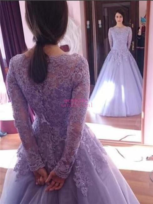 2015 Princess Cinderella Style A-Line Ball Dance Evening Dresses For Wedding Occasion Sale Cheap Sheer Long Sleeves Lavender Lace Prom Gowns Online with $119.08/Piece on Sarahbridal's Store | DHgate.com