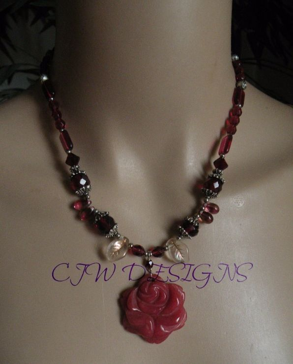 Handmade Necklace Crystal & Gemstone rose Free Shipping