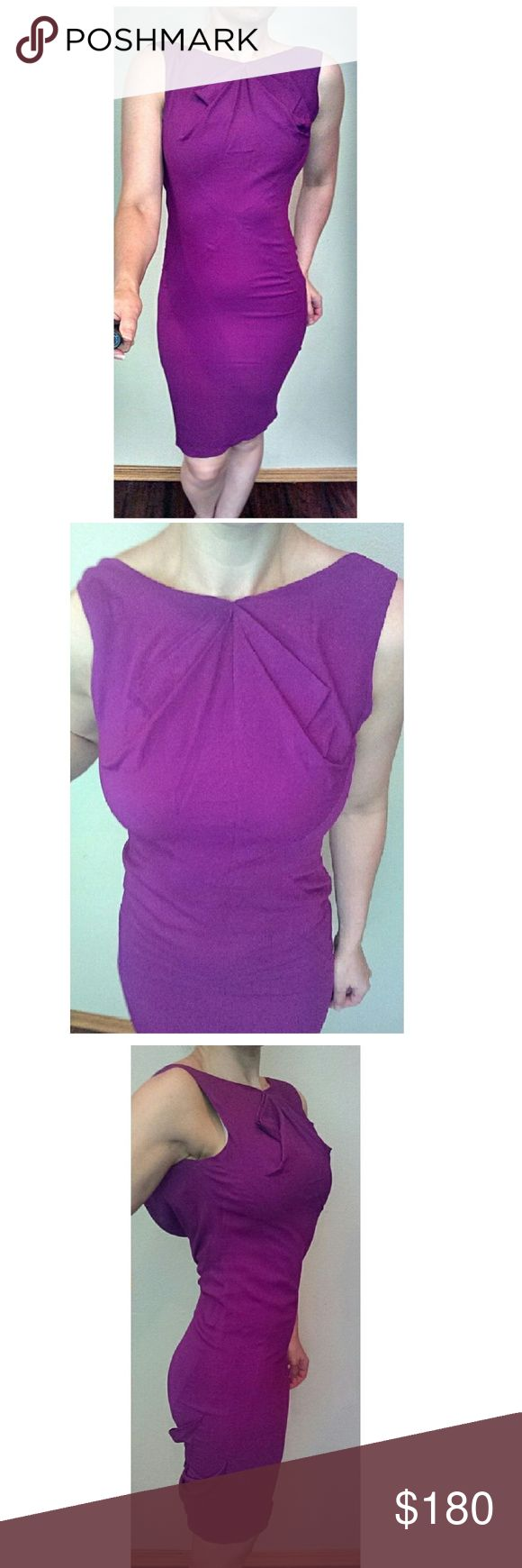 "Zac Posen Purple Draped Pencil Dress SZ 0 FITS 6 Stunning Zac Posen Purple draped cocktail dress. Folded pleates at bodice. Flows to right below the knee. Draped to hit at the lower back. Folds around the lower back.   Excellent condition.  Size 0. Runs much larger than usual Zac Posen sizing. It seems to be mislabeled as this is definitely not a 0. Fits like a size 6 so I have listed as such.   Measurements taken laying flat: Bust: 17"" Waist: 14"" Hips: 17"" Length: 39"" Zac Posen Dresses Midi"