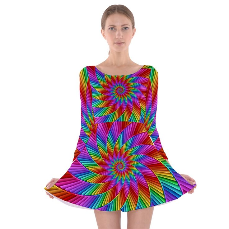 Psychedelic+Rainbow+Spiral++Long+Sleeve+Skater+Dress By KittyBitty
