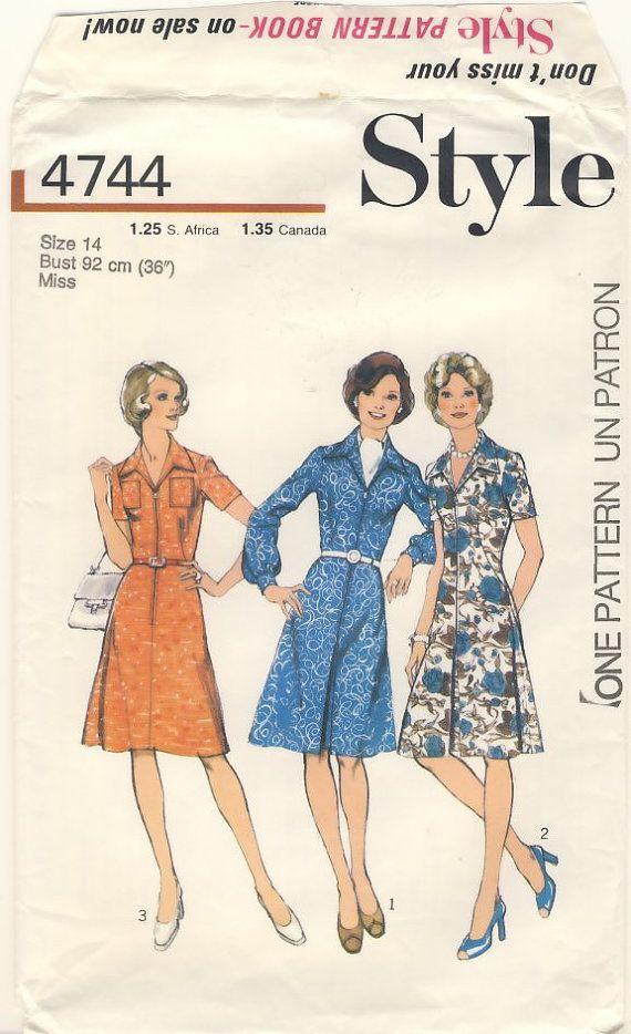 Style 4744 Vintage 1974 Misses Shirt Dress by susanbeingsnippy