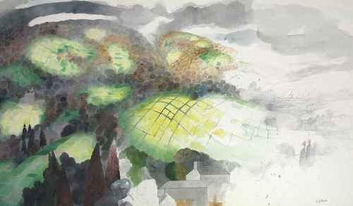 Edward Burra (English, 1905-1976), Landscape, 1976. Pencil and watercolour, 29½ x 51½ in. (75 x 130.8 cm.)