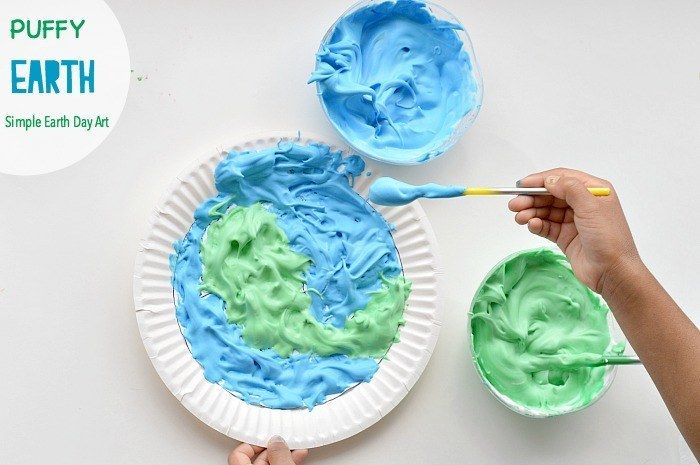 Earth Day Art with puffy paint Earth