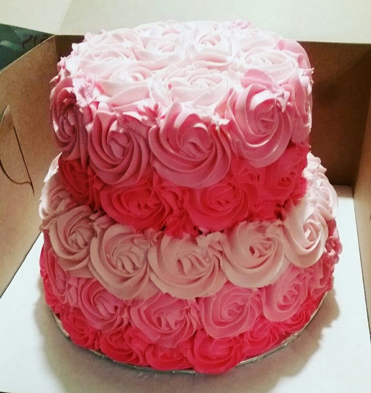 Pink Rose Ombre cake for little girl baby shower!