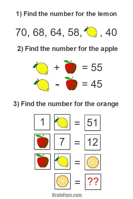 Brain teaser - Picture Logic Puzzle - complex logic and math puzzle - Solve this logic task including three smaller logic and math tasks. Can you find the number for orange if you know numbers for lemon and apple? Share if you solve this complex puzzle!