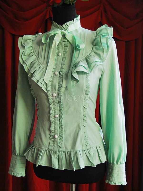b6c8f29b49c14 Classic Green Chiffon Stand Collar Long Sleeve Lolita Shirt ...