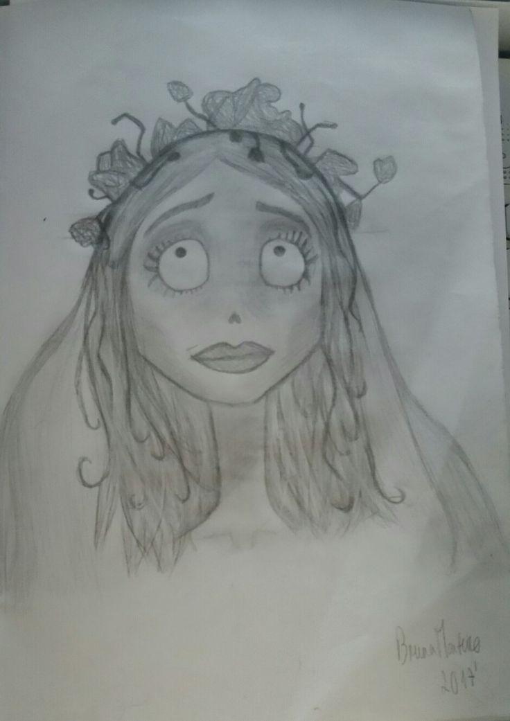 Draw of the corpse bride, made by me. Art with pencil of coal, simple. Desenho da noiva cadáver , feito por mim. Arte com lápis de carvão, simples.