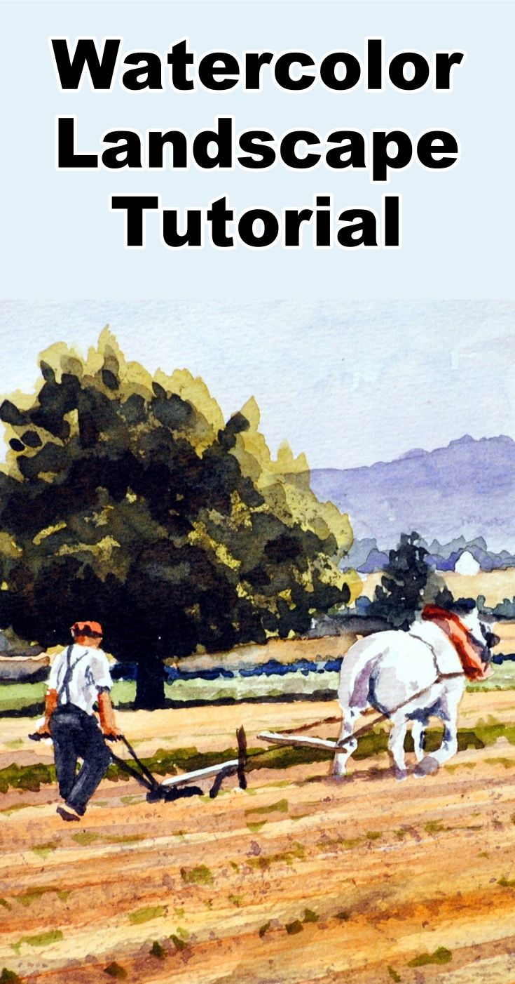Learn how to paint a watercolor landscape of a farmer and his horse plowing the fields in this free painting tutorial