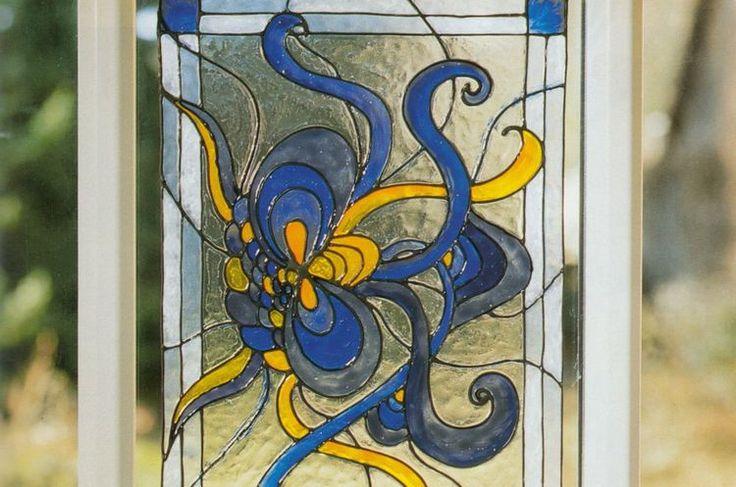 Imitatii de vitralii Tiffany - Ornament albastru cu galben
