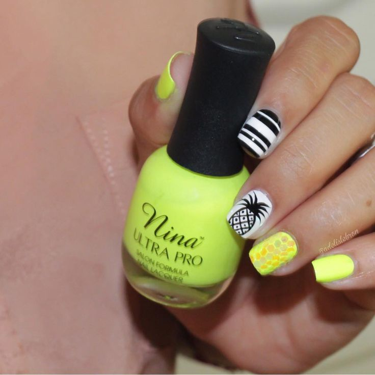 Neon Yellow, Black, and White Pineapple Nails