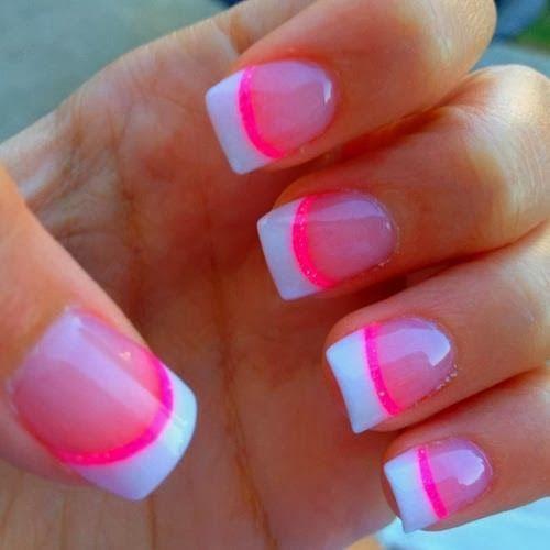 Pink Water Nails Art Idea