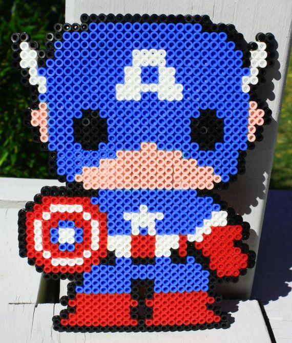 Captain America Perler Bead Art by MyFandomOutlet on Etsy, $12.99
