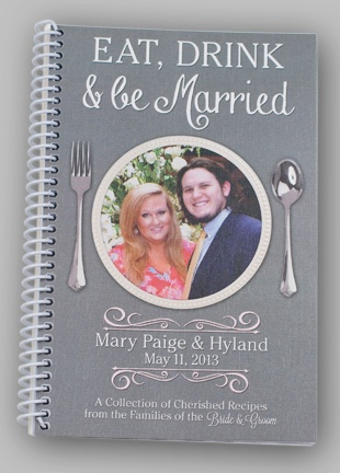 Eat, Drink & be Married Cookbook #wedding, #bride, #favors