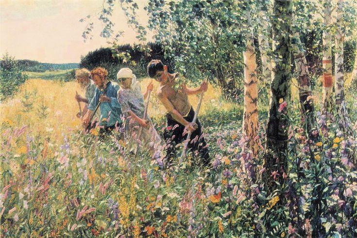 Haymaking (Сенокос, 1945) Arkady Alexandrovich Plastov (Аркадий Александрович Пластов. Unión Soviética. Rusia, 1893-1972)