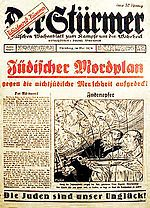 1934 Stürmer special issue, image shows Jews extracting blood from Christian children for use in religious rituals (an example of the blood libel against Jews)