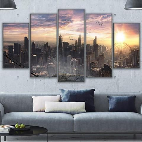 5 Pieces Chicago Cityscape Sky View Poster Wall Art