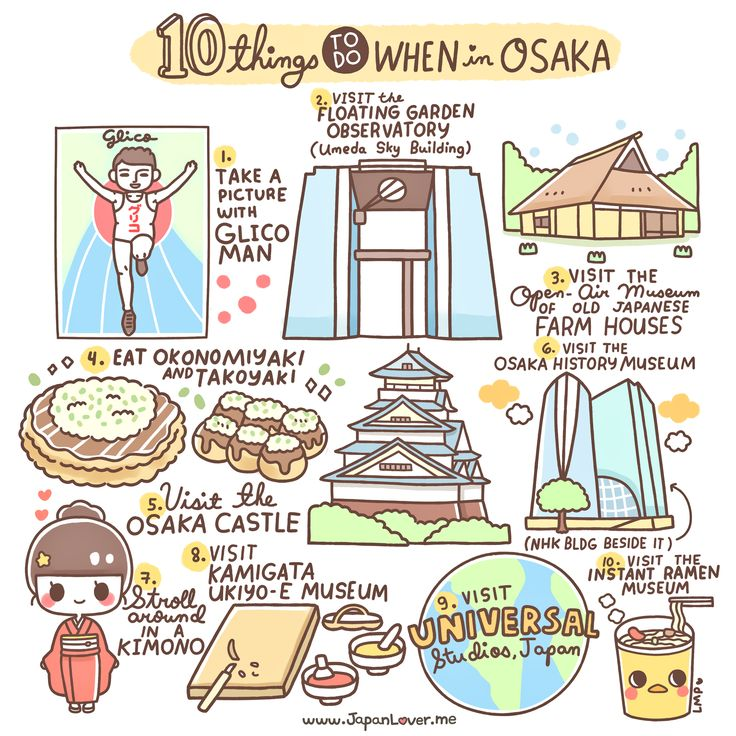 Osaka, a city that is one of Japan's most important economic centers, has many sights and activities to offer for tourists and travelers. (・∀・) These are just 10 of the many things you can do in Osaka (/^▽^)/ Sharing the Worldwide JapanLove ♥ www.japanlover.me ♥ www.instagram.com/JapanLoverMe Art by Little Miss Paintbrush                                                                                                                                                      More